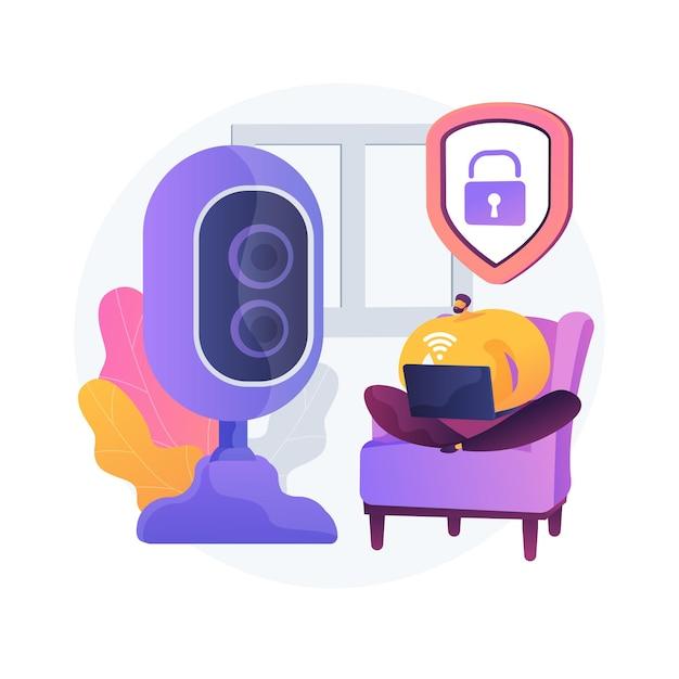 屋内セキュリティシステムの抽象的な概念のベクトル図です。スマートハウスの設置、モバイルアプリケーション、コントロールセンター、スマートフォンで操作されるホームセキュリティシステム、ドアロックの抽象的なメタファー。 無料ベクター