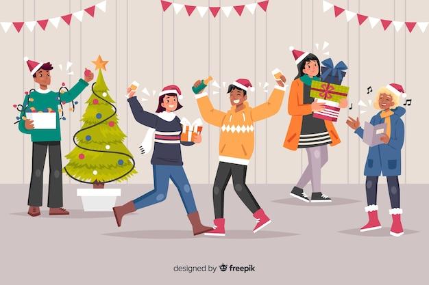Indoor super christmas party cartoon Free Vector