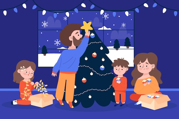 Indoors family decorating the tree winter season background Free Vector