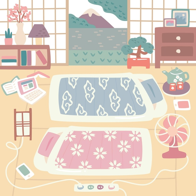 Indoors japanese futon beds Free Vector