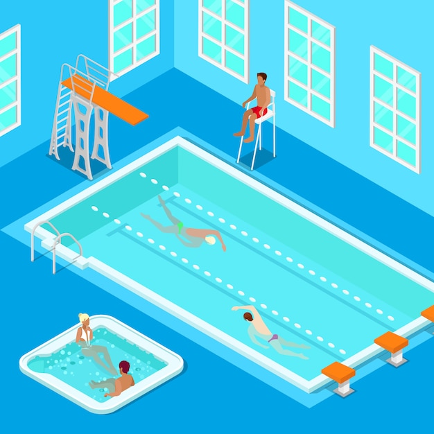 Indoors swimming pool with swimmers, lifesaver and jacuzzi. isometric people. vector illustration Premium Vector