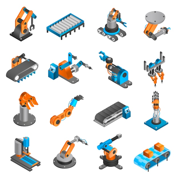 Industial robot isometric icons Free Vector