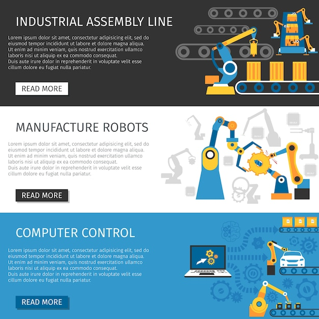 Industrial assembly line flat banners set Free Vector