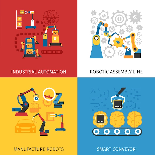 Industrial assembly line vector images Free Vector