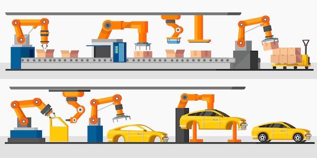 産業オートメーションロボットの水平方向のバナー 無料ベクター