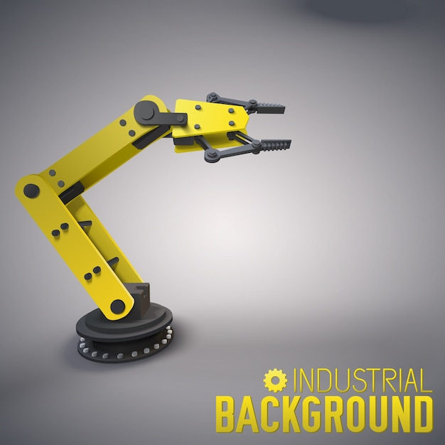 Industrial background with 3d robotic arm Free Vector