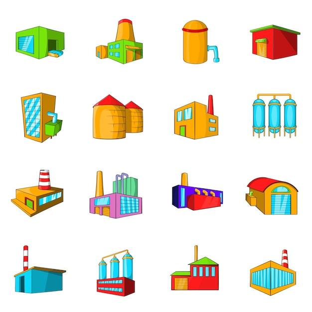Industrial building plants and factories icons set Premium Vector