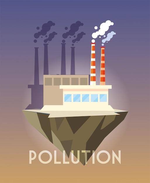 Industrial building over terrain, environmental pollution Premium Vector