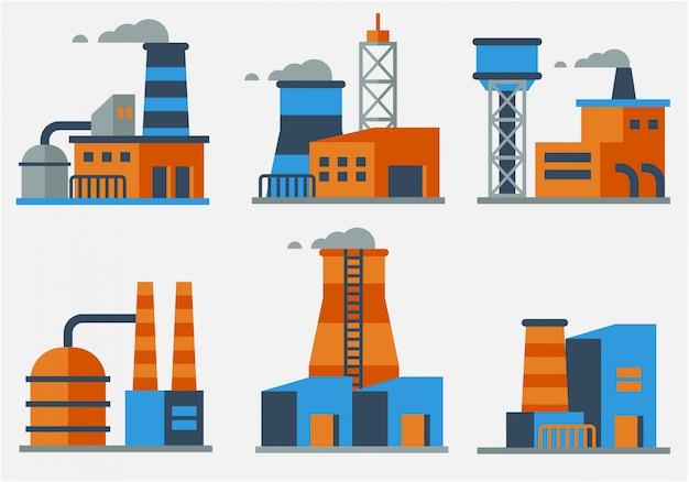 Industrial buildings flat design vector Premium Vector