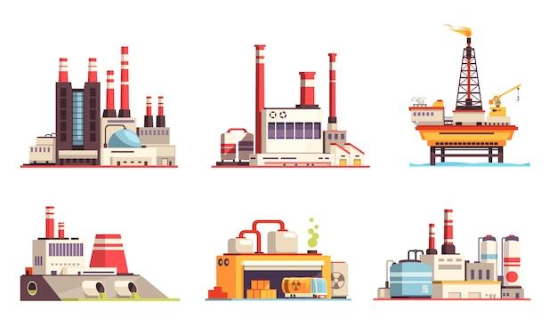 Промышленные здания плоский набор нефтяной промышленности электростанций электростанций нефти морской платформы изолированные иллюстрации Бесплатные векторы