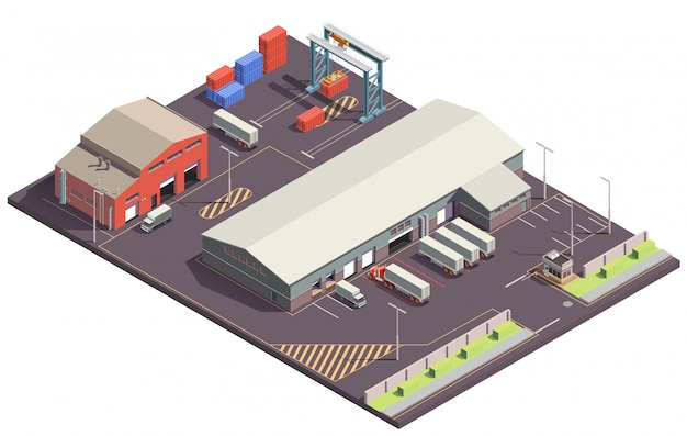 Industrial buildings isometric composition with parking lot cargo handling garages trucks and containers with crane manipulators Free Vector