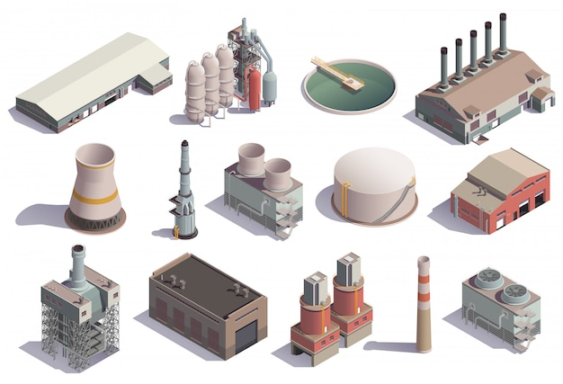 Industrial buildings isometric icons set with isolated images of factory facilities for different purposes with shadows Free Vector