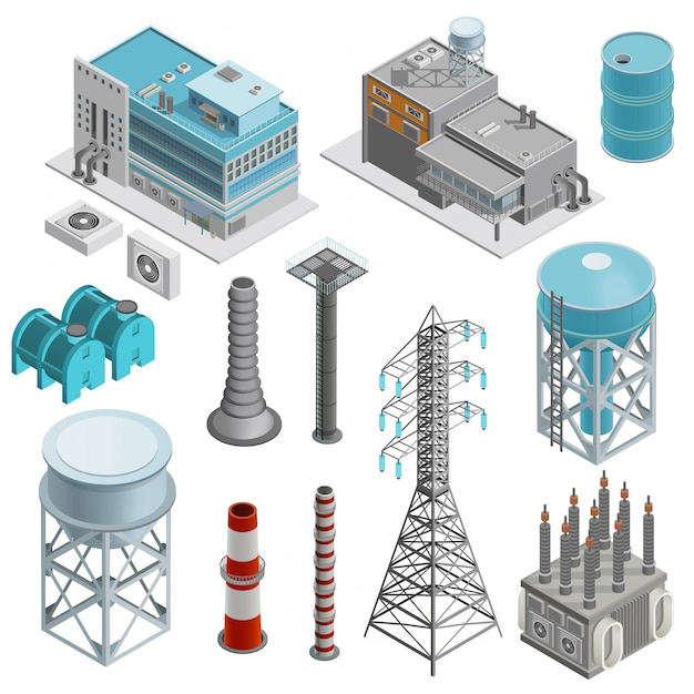 Industrial buildings isometric icons set Free Vector