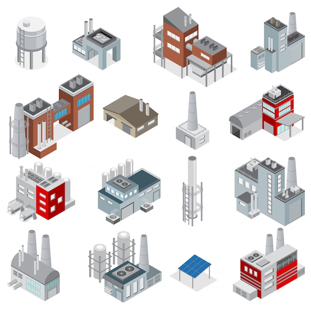 Industrial buildings isometric set of elements for factories and power plants constructor isolated Free Vector