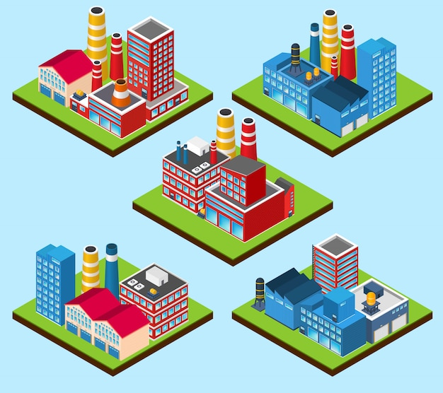 Industrial buildings isometric Free Vector