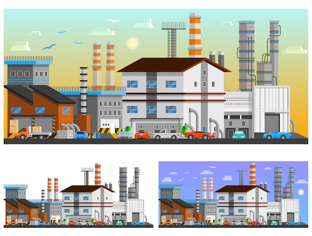 Industrial buildings orthogonal compositions set Free Vector