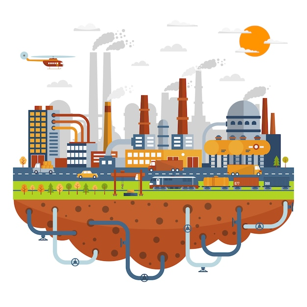 Industrial city concept with chemical plants Free Vector