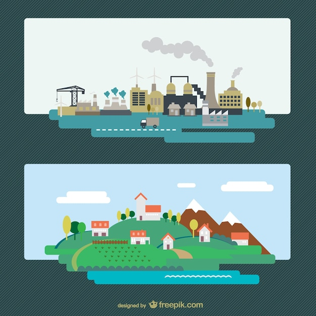 Industrial city and natural landscape Free Vector