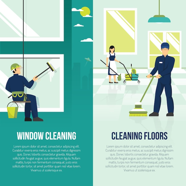 Industrial cleaning 2 flat banners Free Vector