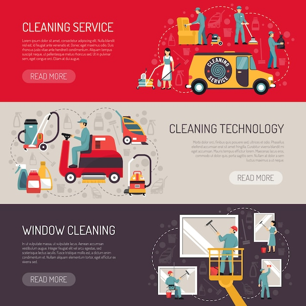 Industrial cleaning flat horizontal banners set Free Vector