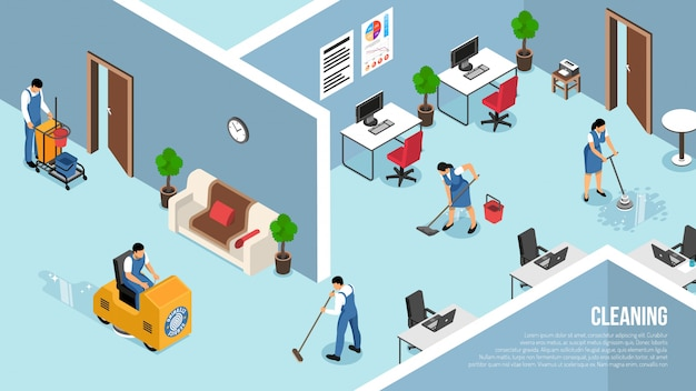 Industrial and commercial buildings interiors cleaning service with floors pressure   washing team vector illustration Free Vector