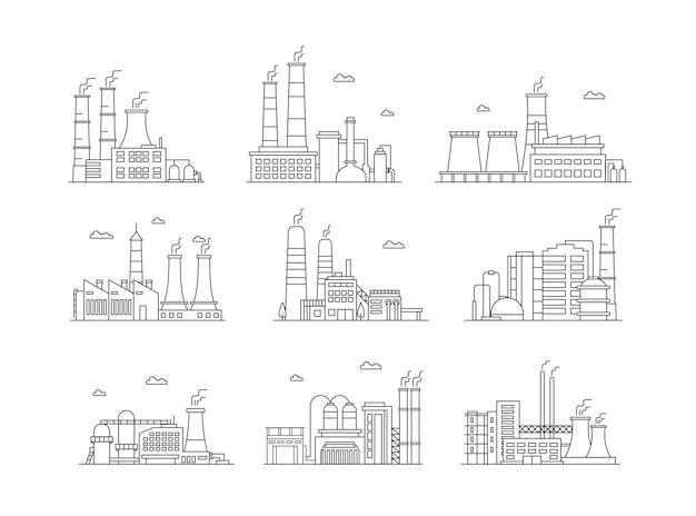 工業団地の複雑な色のアイコンは、製造工場を分離した工場の建物を設定します Premiumベクター