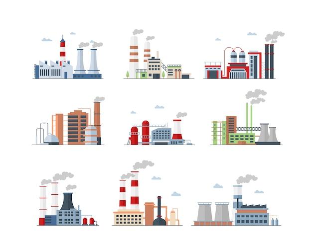 工業団地の複雑な色のアイコンを設定します。製造工場はイラストを分離しました。工場の建物と大量生産。大気汚染、煙を出すパイプ、汚染ガスの排出 Premiumベクター