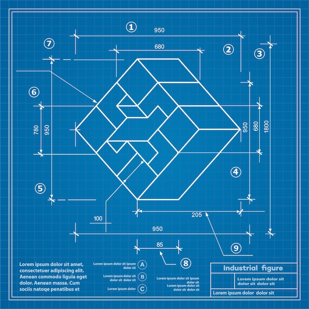 Industrial construction drawing  blueprint background image Premium Vector