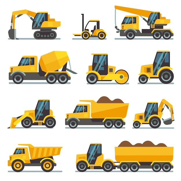Industrial construction equipment and machinery flat vector icons excavator and tractor, bulldozer a Premium Vector
