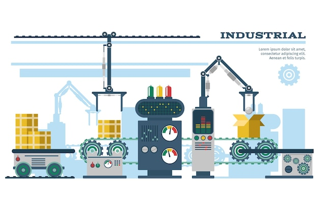 Industrial conveyor belt line illustration. Free Vector