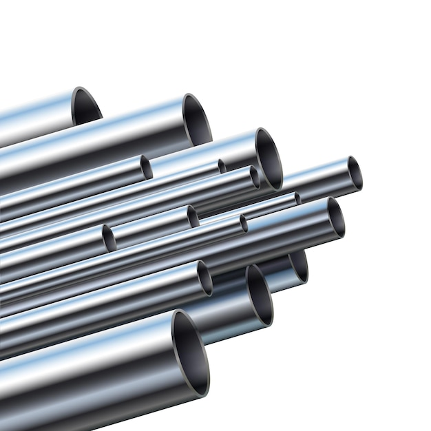 Промышленные металлические трубы разного диаметра. Premium векторы