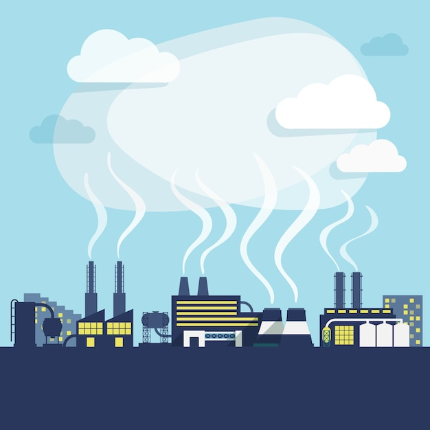 Industrial facilities of factory or manufacturing plant with pollution smoke background print vector illustration Free Vector