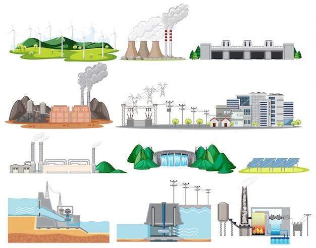 Costruzione delle fabbriche industriali isolata su fondo bianco Vettore gratuito