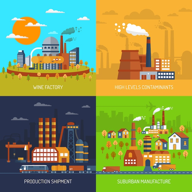 Industrial factories and plants flat set Free Vector