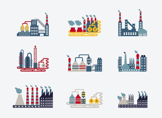 Значки зданий промышленного завода Бесплатные векторы