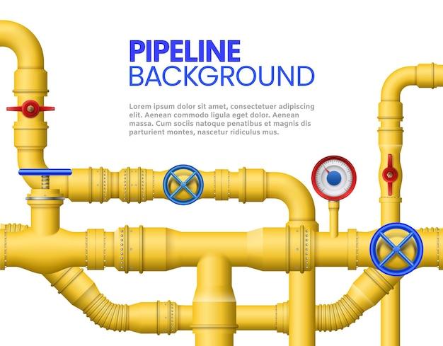 Баннер промышленных газовых труб. желтый трубопровод, нефтяные трубы и иллюстрации трубопроводов. Premium векторы