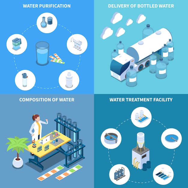 Industrial and home water purification delivery and composition of drinking liquid isometric design concept isolated vector illustration Free Vector
