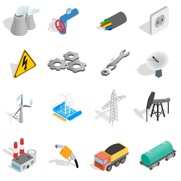 Industrial icons set in isometric 3d style isolated on white background Premium Vector