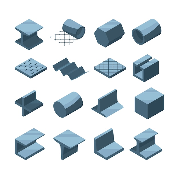 Industrial icons set of metallurgic production. isometric pictures of steel or iron pipes Premium Vector