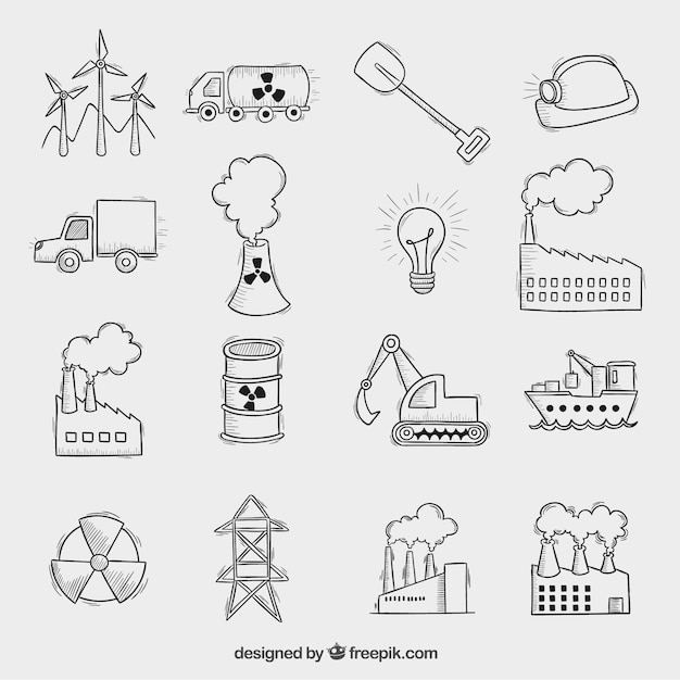 Industrial icons Free Vector