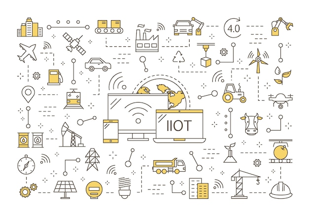 Industrial internet of things concept Premium Vector