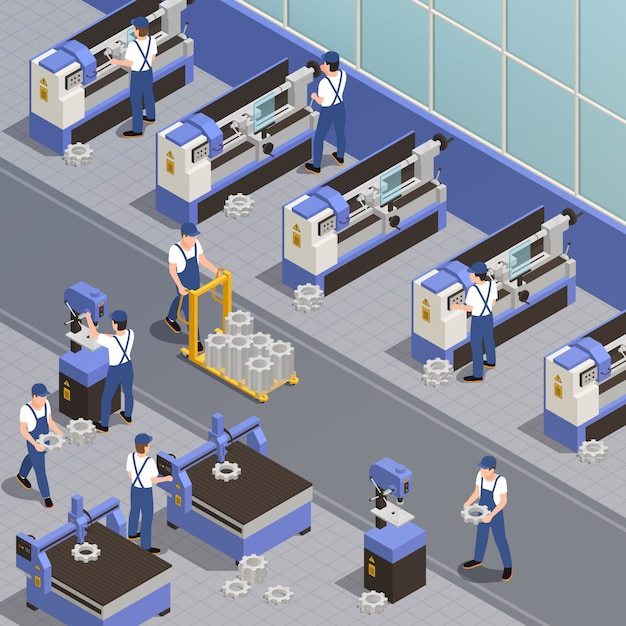 Free Vector   Industrial machinery with plant equipment symbols isometric