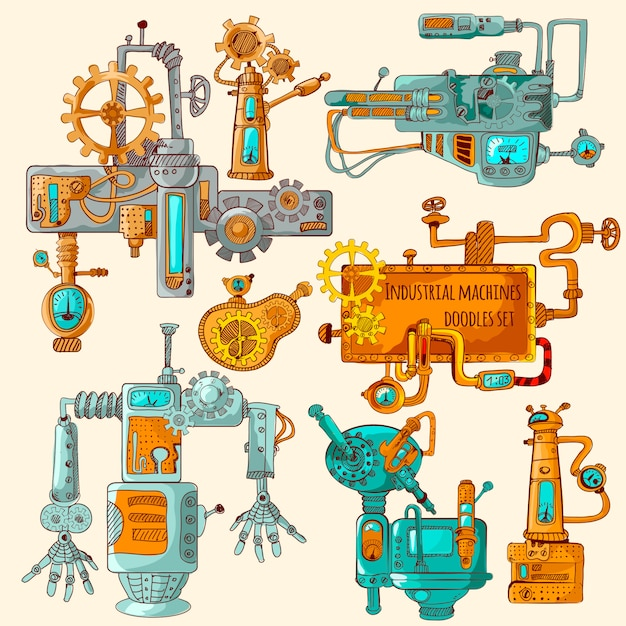 Industrial machines doodles colored Free Vector
