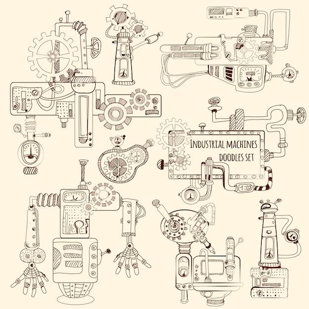 Industrial machines doodles set Free Vector