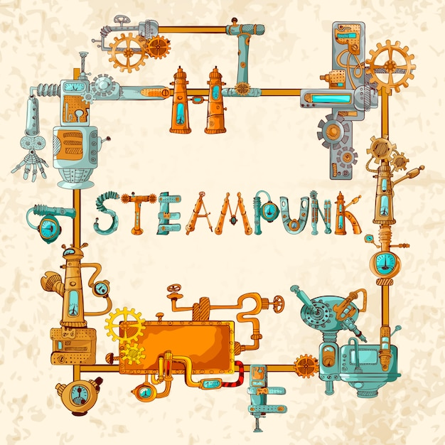 Industrial machines frame Free Vector