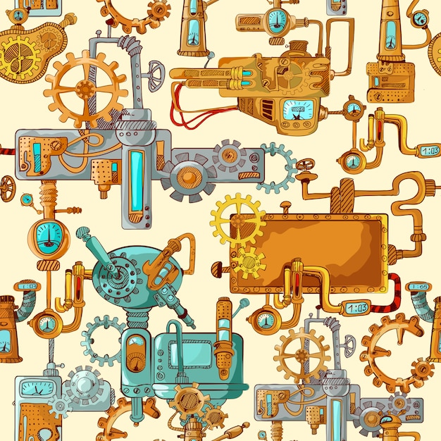 Industrial machines seamless Free Vector