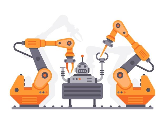 Industrial manipulators assemble robot. flat illustration Premium Vector