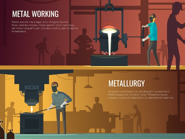 Industrial metalworking 2 flat retro horizontal banners Free Vector
