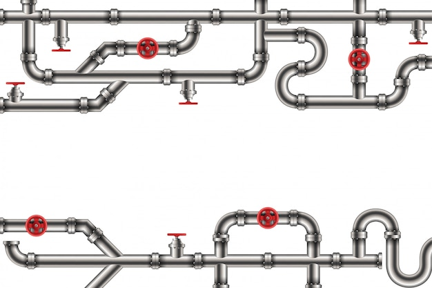 Industrial oil, water, gas pipe system background. Premium Vector