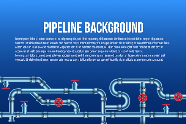 Industrial oil, water, gas pipe system. Premium Vector